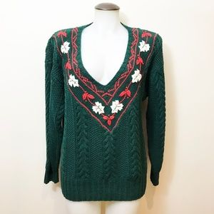 Forest Green Cable Sweater With Embroidery & Beads